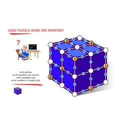 Math logic puzzle game for smartest find solution vector