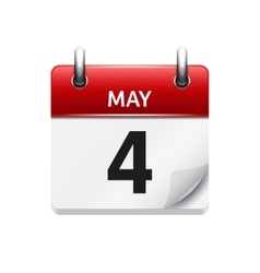 May 4 flat daily calendar icon date vector