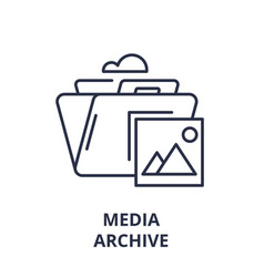 media archive line icon concept media archive vector image