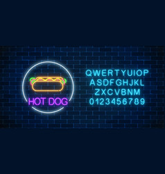 Neon glowing sign of hot dog in circle frame with vector