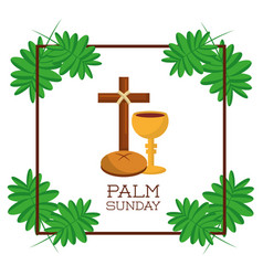 Palm sunday card invitation celebration religious vector