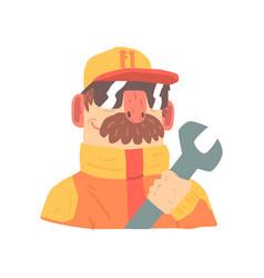 pit stop technician worker in an orange uniform vector image