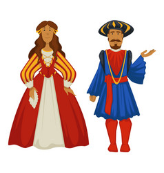 renaissance style couple ancient fashion ball vector image
