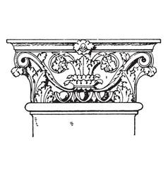Roman-corinthian pilaster capital weigh vintage vector