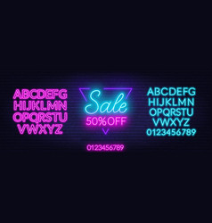 sale neon sign in a triangular frameoffer a vector image