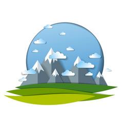 Scenic landscape of mountain peaks range cloudy vector