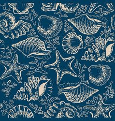 Seamless pattern seashells starfish and corals vector