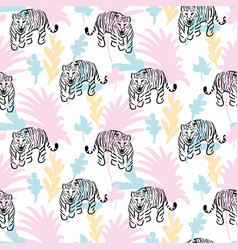 seamless pattern with roaring tiger in jungle vector image