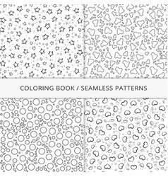 Seamless patterns and coloring book vector