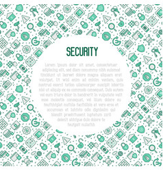Security and protection concept with line icons vector