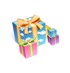 set colorful gift boxes with bows and ribbons vector image