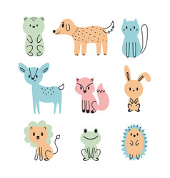 set of cute cartoon animals bear dog cat deer vector image