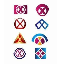 Set of letter X logo Branding Identity Corporate v vector image
