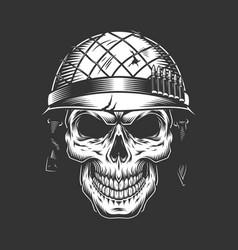Skull in soldier helmet monochrome concept vector