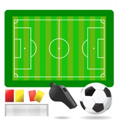 soccer field ball and objects vector image