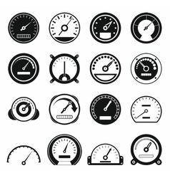 Speedometer icons set black simple style vector image