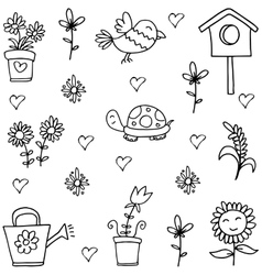 Spring hand draw of doodles vector image