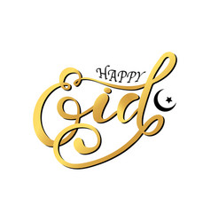 Stylish lettering text happy eid vector