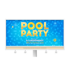 Summer party in swimming pool billboard with vector