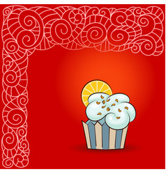 sweet cupcake with orange slice vector image