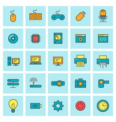 Technology and electronic devices icon set in flat vector image