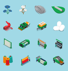 Textile fabrication icon set vector