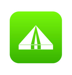tourist camping tent icon digital green vector image
