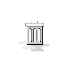 Trash web icon flat line filled gray icon vector