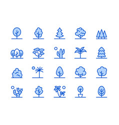 Trees plants blue line icon vector