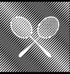 two tennis racket sign icon hole in vector image