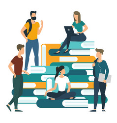 university college books and knowledge concept vector image