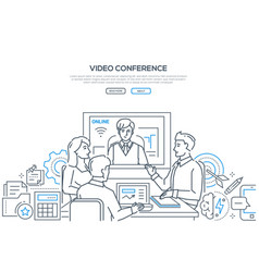 Video conference - modern line design style banner vector