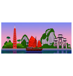 Welcome to vietnam evening landscape vector