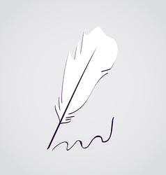 White feather calligraphic pen vector