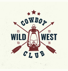 wild west badge t-shirt with indian arrow and vector image