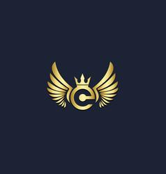 wing emblem crown gold logo vector image