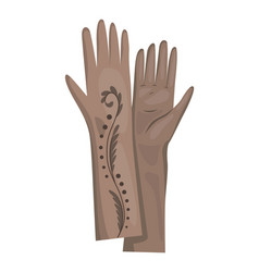 Winter gloves or leather mittens for women as hand vector