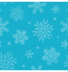 Blue lace snowflakes textile seamless pattern vector image