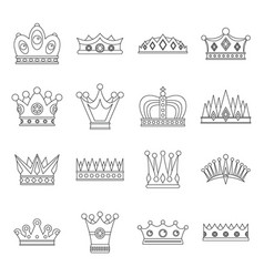 crown icons set outline style vector image