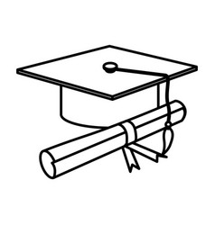 figure graduation hat with diploma vector image