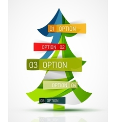 Merry Christmas tree with stickers vector image