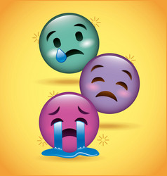 three smiles emoji crying sad expression vector image