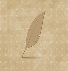 Vintage feather on grunge background vector