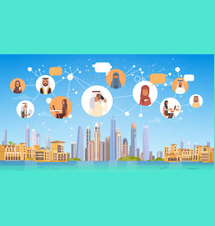 Arab people having connection chat media vector