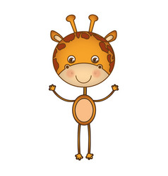 colorful picture cartoon cute giraffe animal vector image