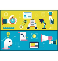 Flat concepts of business process and planning vector image vector image