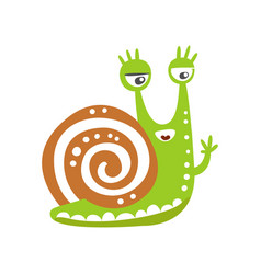 funny snail character waving its hand cute green vector image vector image