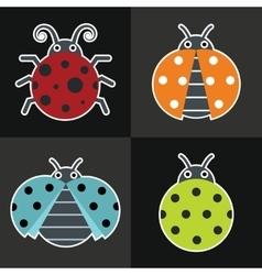Ladybug icons on black background vector image