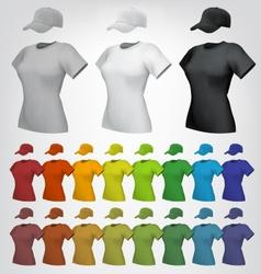 Plain women cap and t-shirt template vector image