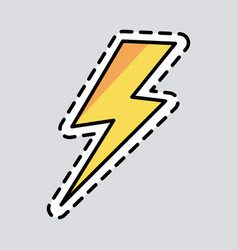 yellow lightning icon cut it out patch energy vector image